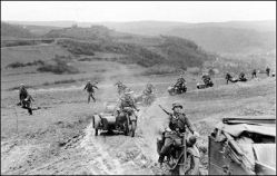 German column on the move through the Ardennes