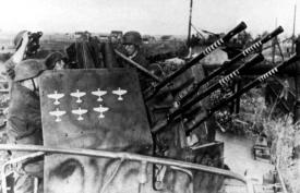 A Nazi Flak 38 Anti-Aircraft Gun positioned to defend  against the Allies.